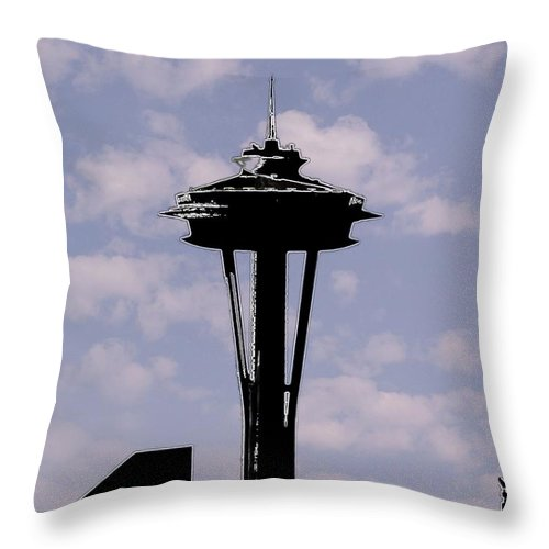 Seattle Throw Pillow featuring the digital art Needle In The Clouds by Tim Allen