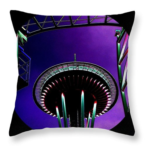 Seattle Throw Pillow featuring the digital art Needle Rollercoaster by Tim Allen