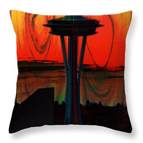 Seattle Throw Pillow featuring the photograph Needle Silhouette 2 by Tim Allen