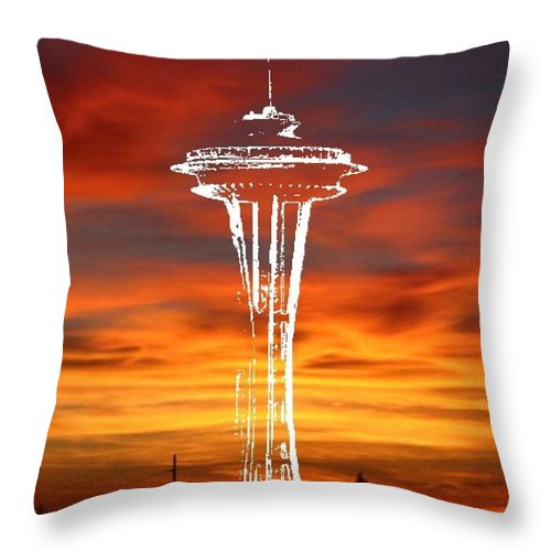 Seattle Throw Pillow featuring the digital art Needle Silhouette by Tim Allen
