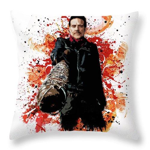 Walking Dead Throw Pillow featuring the digital art Negan by Laurence Adamson