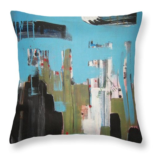 Abstract Paintings Throw Pillow featuring the painting Neglected Area by Seon-Jeong Kim