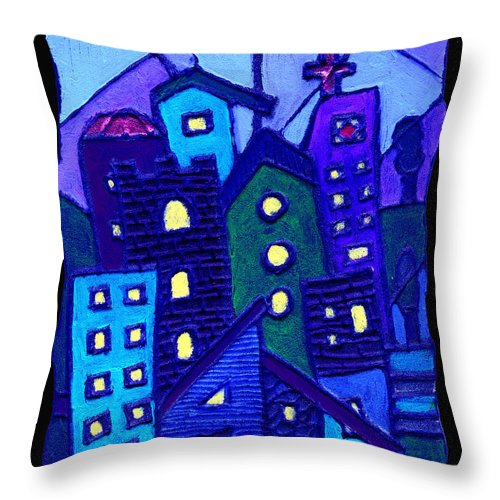 Urban Throw Pillow featuring the painting Neighborhood Blues by Wayne Potrafka
