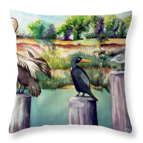 Birds Painting Throw Pillow featuring the painting Neighborhood Gossip by Kandyce Waltensperger