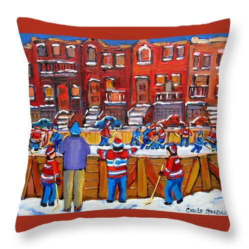 Hockeygame At The Neighborhood Rink Throw Pillow featuring the painting Neighborhood Hockey Rink by Carole Spandau