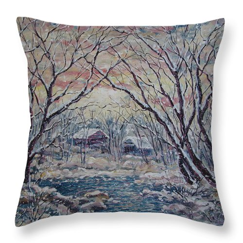 Landscape Throw Pillow featuring the painting Neighbors. by Leonard Holland