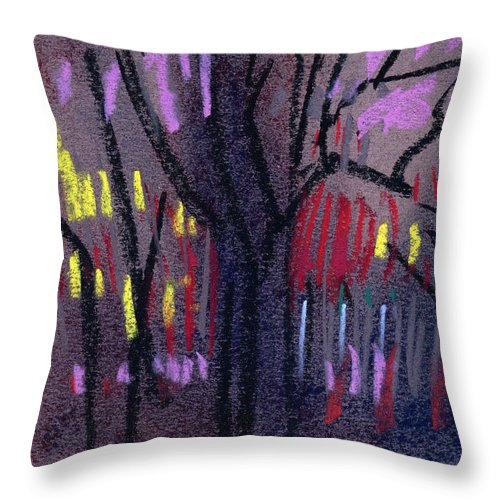 Abstract Throw Pillow featuring the drawing Neighbor's Lights by Donald Maier