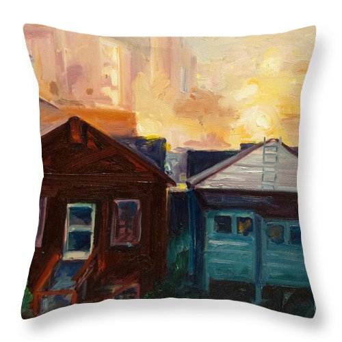 Cityscape Throw Pillow featuring the painting Neighbors by Rick Nederlof