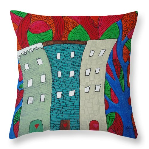 Houses Throw Pillow featuring the painting Neighbors by Wayne Potrafka