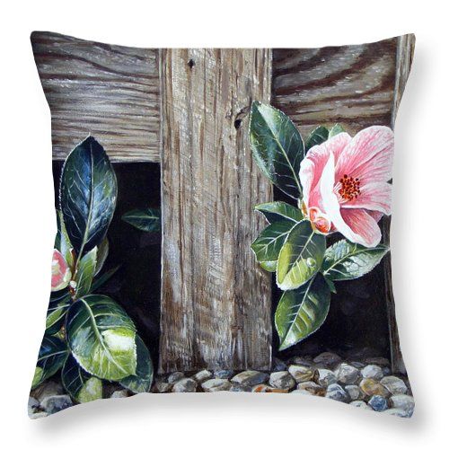 Flower Pink Acrylics Neighbours Fence Wood Leaves Throw Pillow featuring the painting Neighbours by Arie Van der Wijst