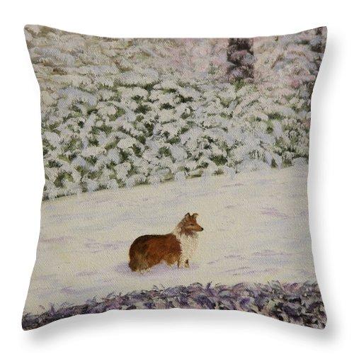 Sheltie Throw Pillow featuring the painting Nelleke by Douglas Ann Slusher