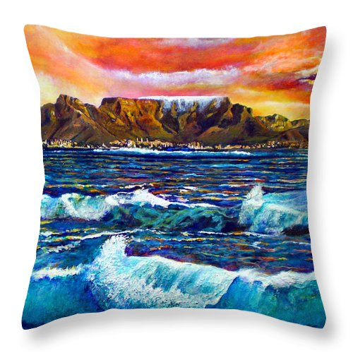 Sunset Throw Pillow featuring the painting Nelsons View Of Freedom by Michael Durst