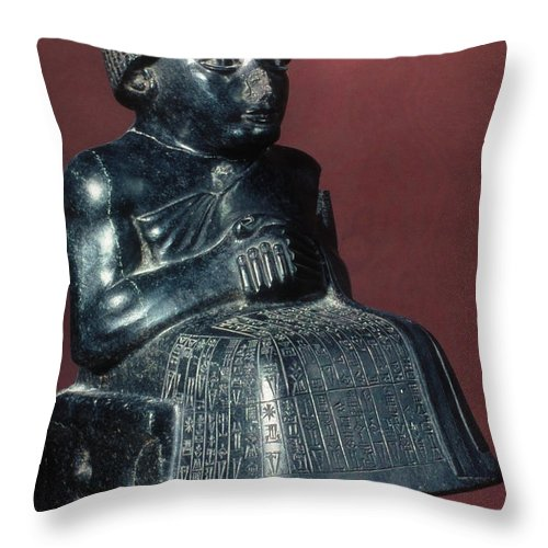 2150 B.c. Throw Pillow featuring the photograph Neo-sumerian Prince Gudea by Granger