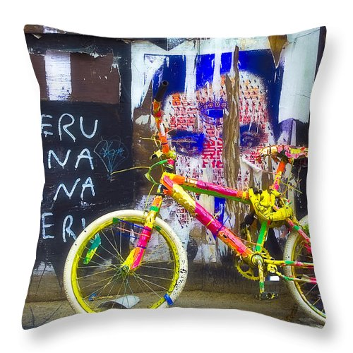 Graffiti Throw Pillow featuring the photograph Neon Bike by William Alger