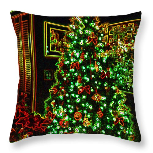 Christmas Throw Pillow featuring the photograph Neon Christmas Tree by Nancy Mueller