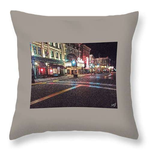 City Street Streets Universal Lights Glow Town Urban Downtown Arcade Throw Pillow featuring the painting Neon City by Chad Wagner