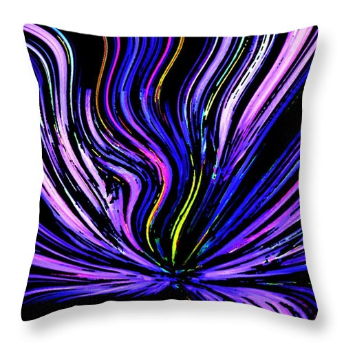 Abstract Digital Painting Throw Pillow featuring the digital art Neon by David Lane