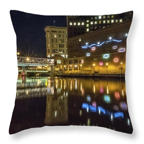 Milwaukee Downtown Throw Pillow featuring the photograph Neon Fish by Kristine Hinrichs