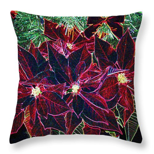 Flowers Throw Pillow featuring the photograph Neon Poinsettias by Nancy Mueller
