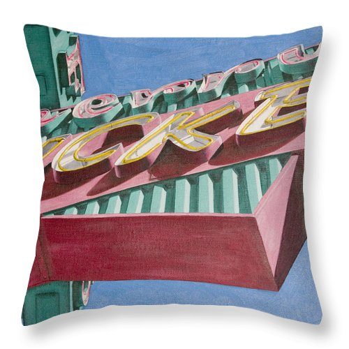Oil Throw Pillow featuring the painting Neon Sign Cherry Cricket by Rob De Vries