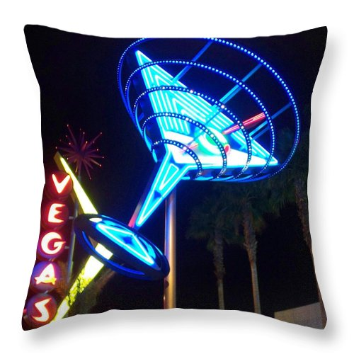 Vegas Throw Pillow featuring the photograph Neon Signs 1 by Anita Burgermeister