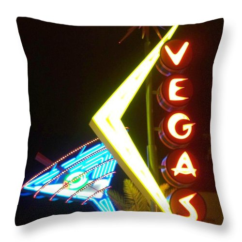 Fremont East Throw Pillow featuring the photograph Neon Signs 3 by Anita Burgermeister