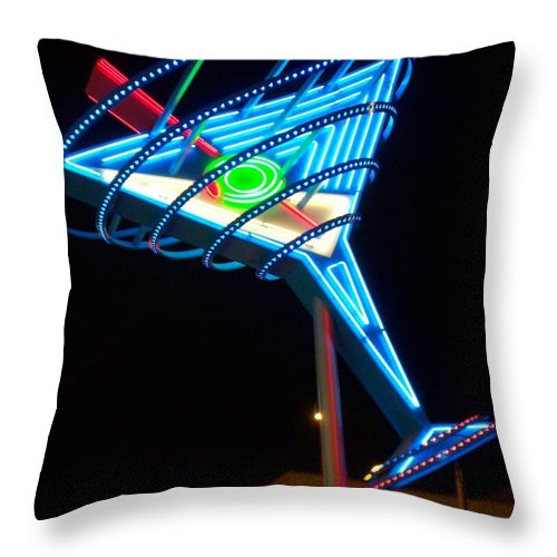 Fremont East Throw Pillow featuring the photograph Neon Signs 4 by Anita Burgermeister