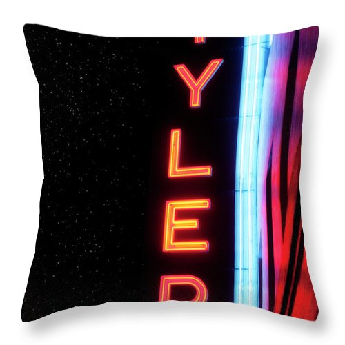 Tyler Texas Throw Pillow featuring the photograph Neon Tyler Signage Tyler Texas by Eugene Campbell