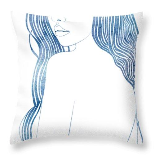 Aqua Throw Pillow featuring the mixed media Nereid L by Stevyn Llewellyn