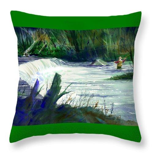 Neshannock Creek Throw Pillow featuring the painting Neshannock Sunday by Lee Klingenberg