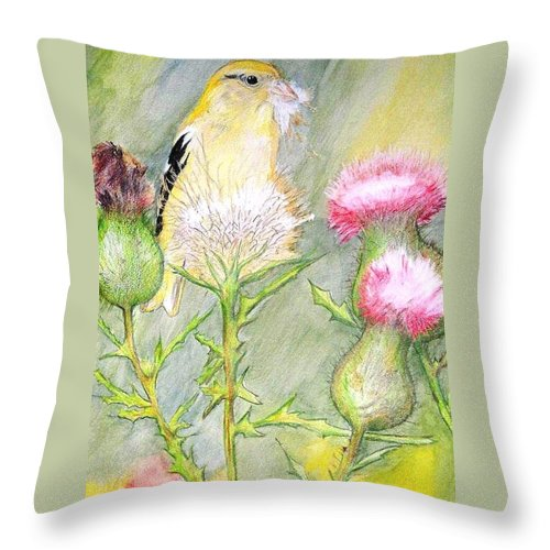 Goldfinch Throw Pillow featuring the painting Nest Fluff by Debra Sandstrom