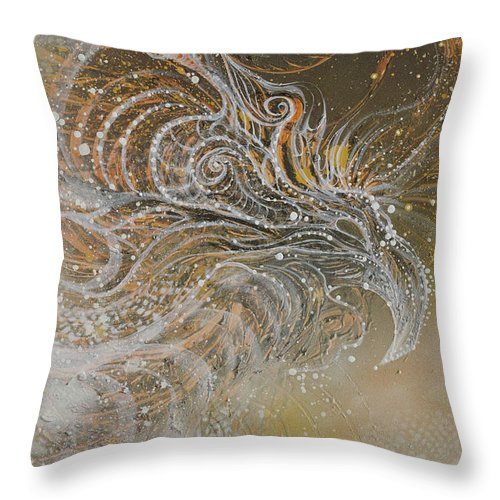 Phoenix Throw Pillow featuring the painting Nest Of The Pheonix by Andrew McDonnell