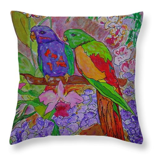 Tropical Pair Birds Parrots Original Illustration Leilaatkinson Throw Pillow featuring the painting Nesting by Leila Atkinson