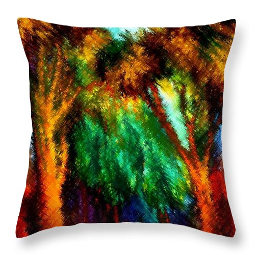 Forest Throw Pillow featuring the painting net by Rafi Talby
