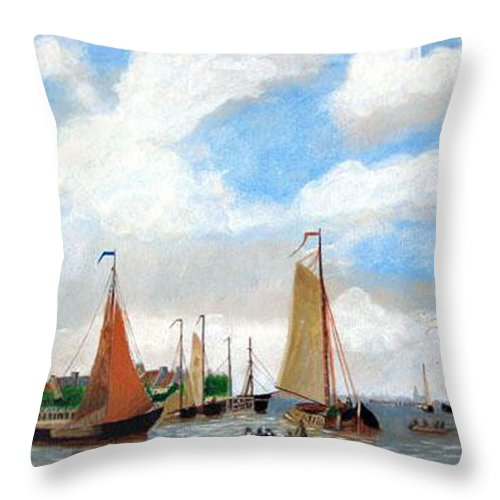Netherlands Throw Pillow featuring the painting Netherland's Harbour by Richard Le Page