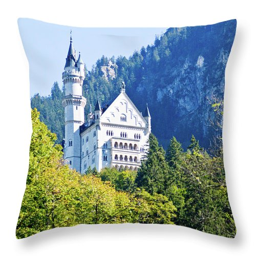 Schloss Throw Pillow featuring the photograph Neuschwanstein Castle 1 by Bernard Barcos