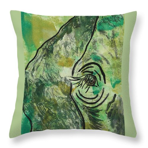 Monotype Throw Pillow featuring the mixed media Never Forgotten by Cori Solomon