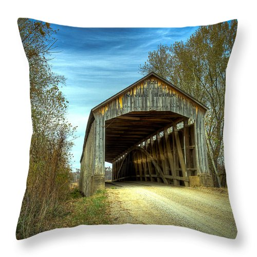 Parke Throw Pillow featuring the photograph Nevins Covered Bridge by Jack R Perry