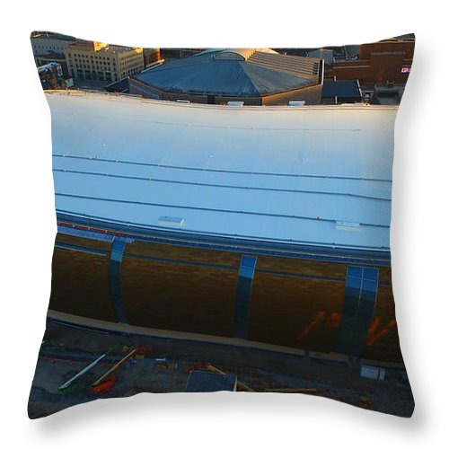 Milwaukee Bucks Throw Pillow featuring the photograph New Arena by Steve Bell