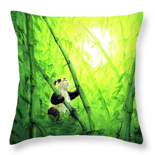 Zen Throw Pillow featuring the painting New Bamboo Leaves by Laura Iverson
