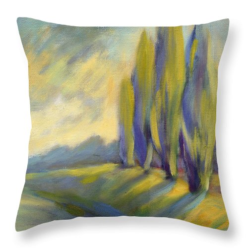 Trees Throw Pillow featuring the painting New Beginning 3 by Konnie Kim