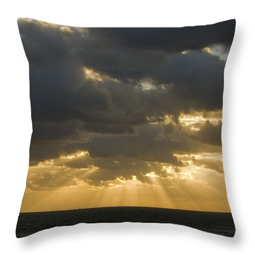 Ocean Sunset Sun Cloud Clouds Ray Rays Beam Beams Bright Wave Waves Water Sea Beach Golden Nature Throw Pillow featuring the photograph New Beginning by Andrei Shliakhau