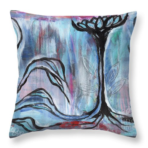 Intuitive Throw Pillow featuring the painting New Beginnings by Angela Armano