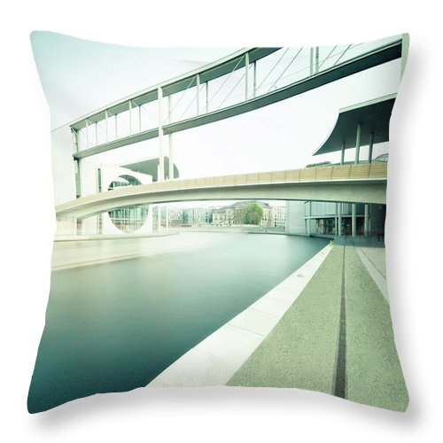 Berlin Throw Pillow featuring the photograph New Berlin Architecture - The Government District by Alexander Voss