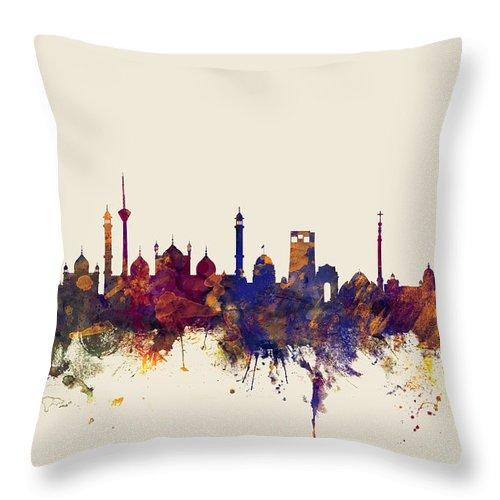 Watercolour Throw Pillow featuring the digital art New Delhi India Skyline by Michael Tompsett