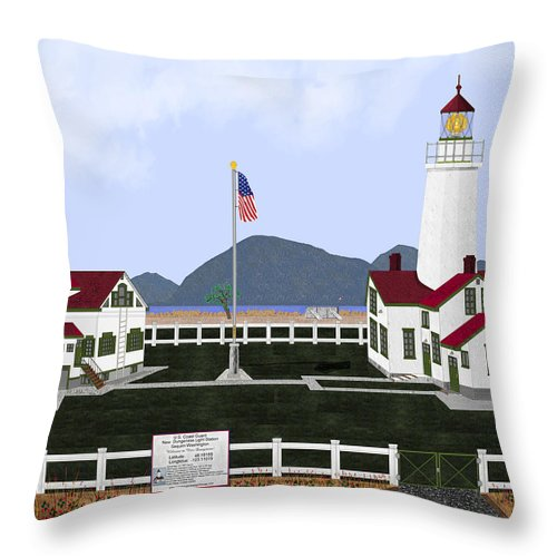 Lighthouse Throw Pillow featuring the painting New Dungeness Lighthouse At Sequim Washington by Anne Norskog