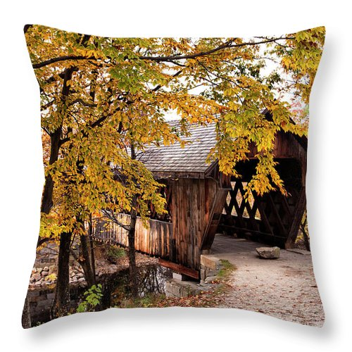 Henniker Throw Pillow featuring the photograph New England College No. 63 Covered Bridge by Betty Pauwels