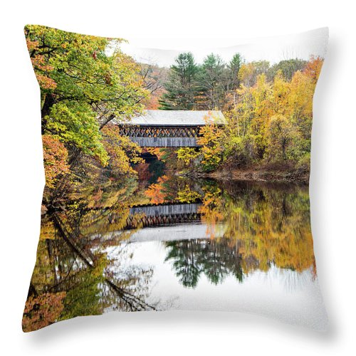 Covered Bridges Throw Pillow featuring the photograph New England Covered Bridge No.63 by Betty Pauwels