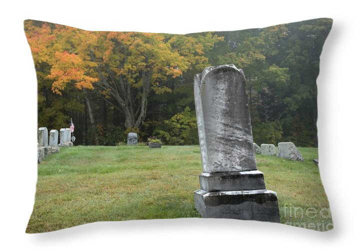 Graveyard Throw Pillow featuring the photograph New England Graveyard During The Autumn by Erin Paul Donovan