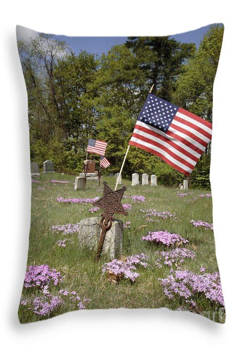 Veteran Throw Pillow featuring the photograph New England Graveyard by Erin Paul Donovan